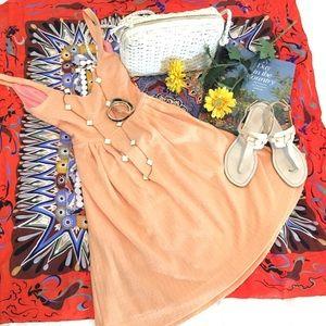Anthropologie Peach Rolo Crossback Dress